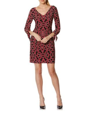 Tie Sleeve Printed Sheath Dress by Laundry by Shelli Segal