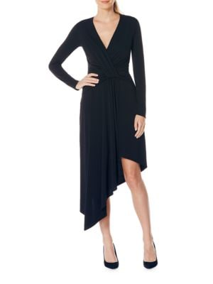 Asymmetrical Draped Long Sleeve Wrap Dress by Laundry by Shelli Segal