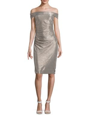 Metallic Off-the-Shoulder Sheath Dress by Laundry by Shelli Segal