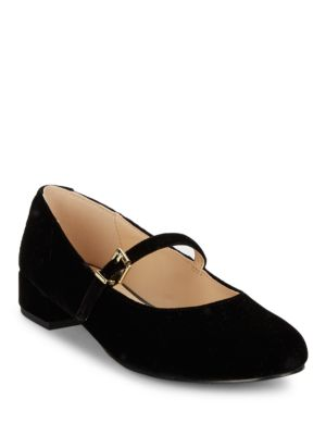 Monique Velvet Mary Jane Flats by IMNYC Isaac Mizrahi