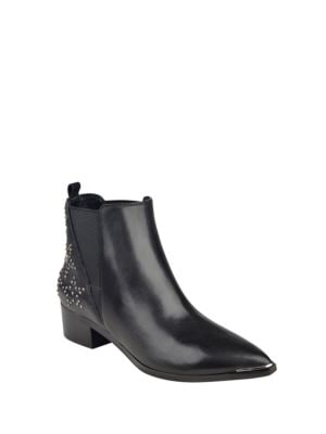 Metal Studded Leather Chelsea Booties by Marc Fisher LTD