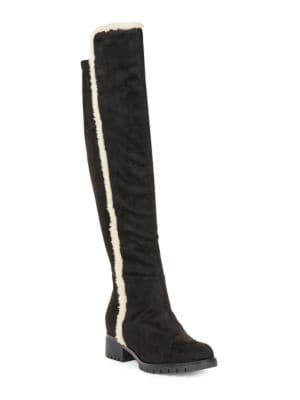 Baron 2 Sherpa-Trimmed Faux Suede Boots by Karl Lagerfeld Paris