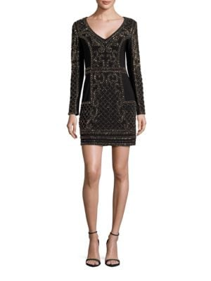 Long Sleeve Beaded Sheath Dress by Xscape