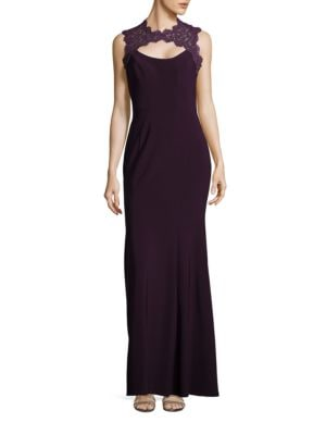 Lace-Trimmed Sleeveless Trumpet Gown by Xscape