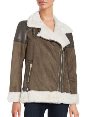 Faux Fur-Accented Faux Suede Coat by Michael Kors