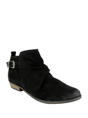 Buckle Me Up Suede Booties by Naughty Monkey