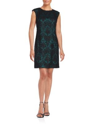 Textured Jewelneck Dress by Vince Camuto