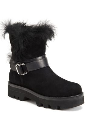 Voz Rabbit Fur Trimmed Kid Suede Ankle Boots by Rachel Zoe