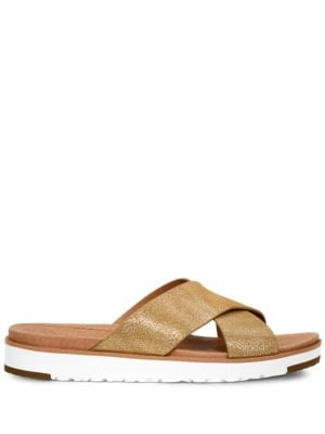 Kari Metallic Suede Slide Sandals by UGG