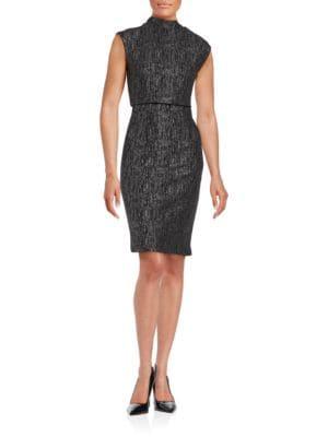 Cap Sleeve Popover Sheath Dress by Belle Badgley Mischka