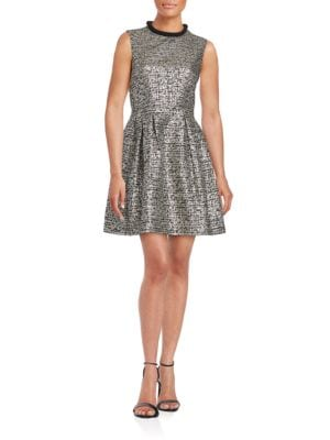 Textured Metallic Fit-and-Flare Dress by Belle Badgley Mischka