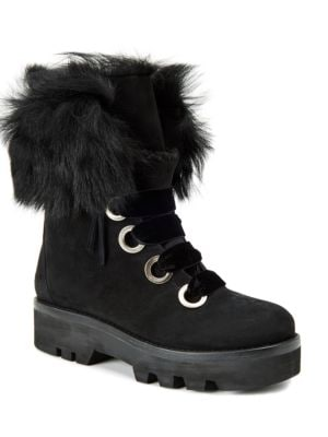Vayl Rabbit Fur Trimmed Kid Suede Ankle Boots by Rachel Zoe
