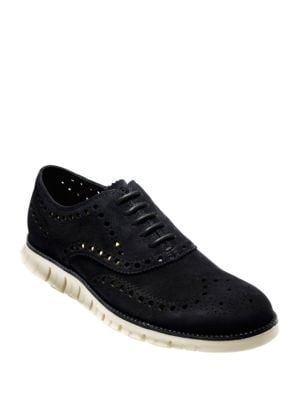 Zero Grand Suede Wing Tip Oxfords by Cole Haan