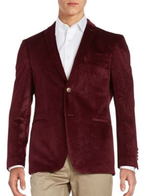 Embossed Velvet Blazer by Tallia Orange