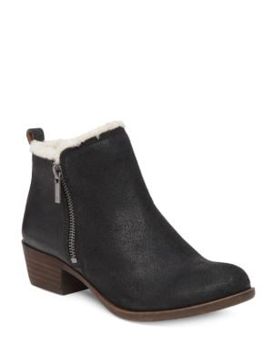 Basel Leather and Faux Shearling Ankle Boots by Lucky Brand