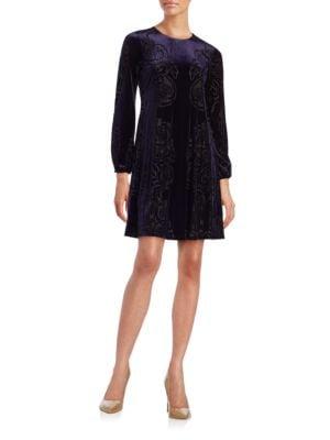 Long Sleeve Velvet A-Line Dress by Eliza J