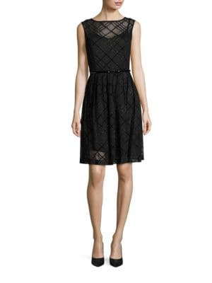 Sleeveless Plaid Belted Fit-and-Flare Dress by Ellen Tracy