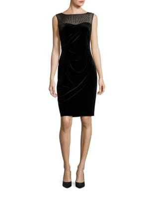 Beaded Illusion Neck Velvet Dress by Ellen Tracy