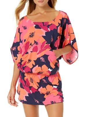 Floral Boatneck Caftan by Anne Cole