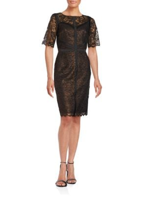 Short Sleeve Lace Sheath Dress by Chetta B
