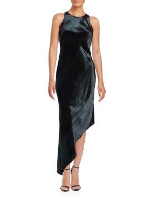Velvet Asymmetrical Bias-Cut Dress by Aidan Aidan Mattox
