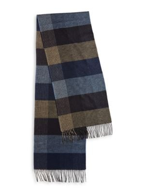 Fringed Houndstooth and Herrinbgone Checked Scarf by Black Brown