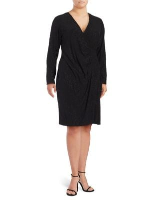 Embellished Long Sleeve Surplice Dress by Calvin Klein Plus