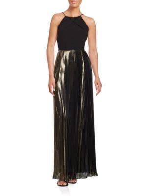 Pleated Metallic Contrast A-Line Gown by Aidan Aidan Mattox