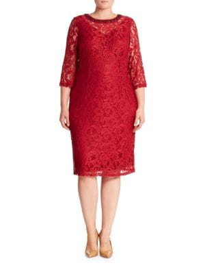 Three-Quarter Sleeve Illusion Lace Sheath Dress by London Times