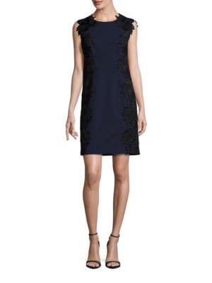 Lace-Trimmed Sleeveless Sheath Dress by Betsey Johnson