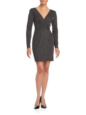 Shimmer Mock-Wrap Sheath Dress by Guess