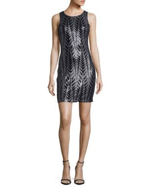 Sleeveless Sequined Sheath Dress by Badgley Mischka Platinum