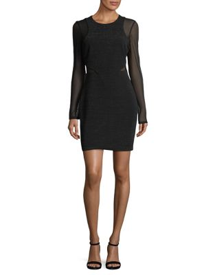 Ribbed Mesh-Accented Long Sleeve Sheath Dress by Guess
