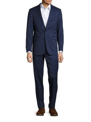 Pickstitched Wool Navy Two-Button Suit by Calvin Klein