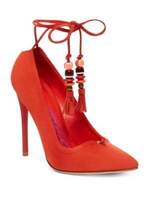 Hanna Suede Lace-Up Pumps by B Brian Atwood