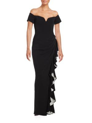 Ruffled Off-the-Shoulder Gown by Badgley Mischka