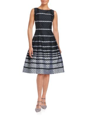 Scalloped Fit-and-Flare Dress by Carmen Marc Valvo