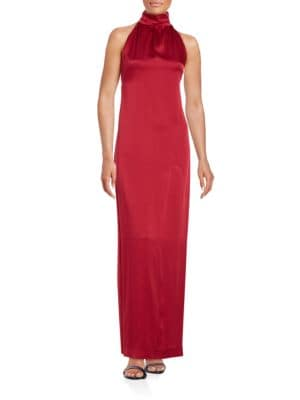 Satin Halter Sheath Gown by Rachel Zoe