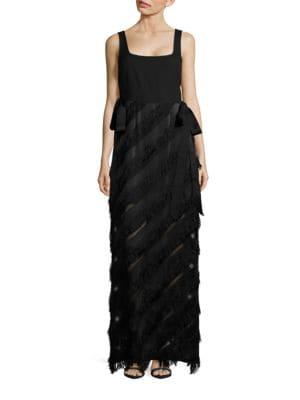 Asymmetrical Striped Sleeveless Column Dress by Rachel Zoe