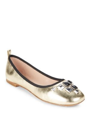 Studded Metallic Leather Ballet Flats by Marc Jacobs