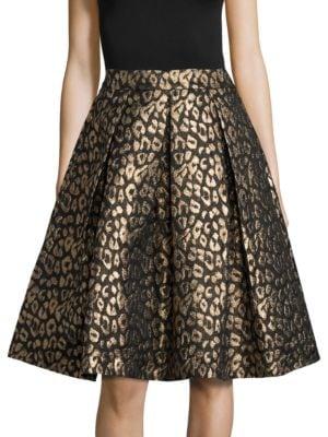 Animal Print Pleated A-Line Skirt by Eliza J