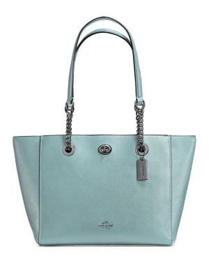 Pebble Leather Turnlock Chain Tote by COACH