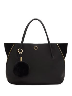 Elin Leather and Real Rabbit Fur Tote by Louise et Cie