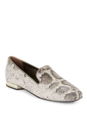 Hazel Snakeskin-Embossed Leather Loafers by Donald J Pliner