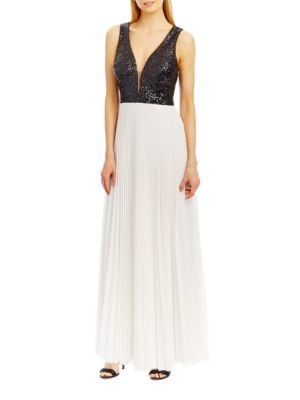 Deep-V Accented A-Line Pleated Gown by Nicole Miller New York