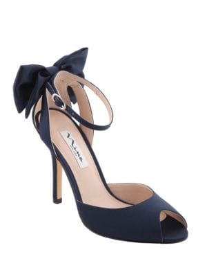 Martina Ankle Bow Peep Toe Pumps by Nina