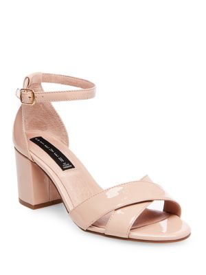 Voome Patent Leather Block Sandals by Steven by Steve Madden