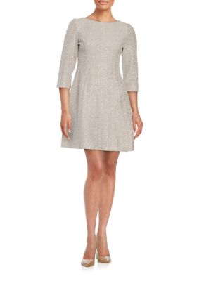 Three Quarter Sleeve Textured A-Line Dress by Vince Camuto
