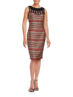 Sleeveless Embellished Sheath Dress by Badgley Mischka Platinum