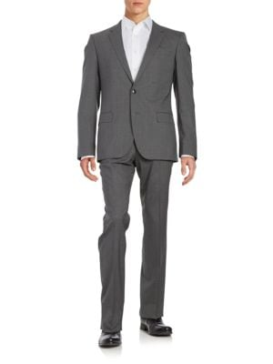 Pickstitched Wool-Blend Suit by Hugo